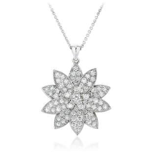 Van Cleef & Arpels Lotus Diamond Pendant Necklace