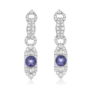 Star Sapphire and Diamond Earrings