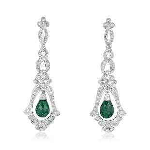 Diamond and Emerald Drop Earrings