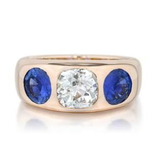 1.41-Carat Old Mine-Cut Diamond and Sapphire Ring