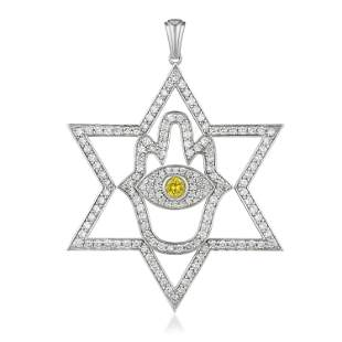 Diamond and Yellow Sapphire Star Hamsa Pendant