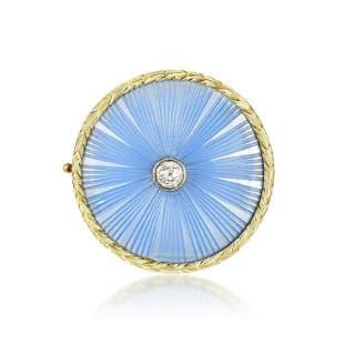 Faberge Enamel and Diamond Brooch, Russian