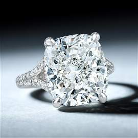 8.88-Carat Cushion-Shaped Diamond Ring