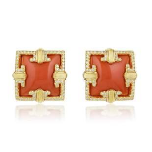Henry Dunay Coral and Diamond Earclips
