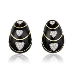 Black Enamel and Diamond Earclips