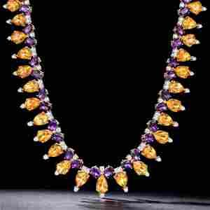 Citrine Amethyst and Diamond Necklace