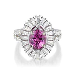 241Carat Pink Sapphire and Diamond Ring