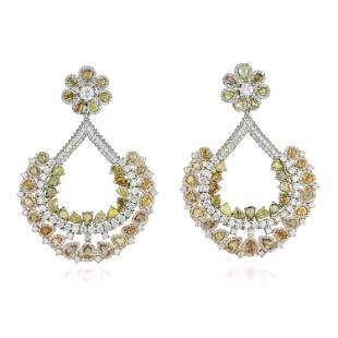 MultiColored Diamond Pendant Earrings