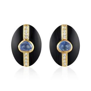 Onyx Sapphire and Diamond Earclips