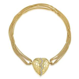 Gucci Diamond Mended Heart Pendant Necklace
