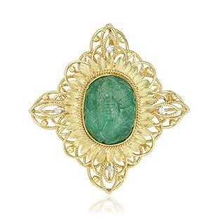 Emerald and Diamond PendantBrooch Necklace