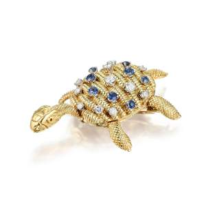 Diamond and Sapphire Turtle Pin French