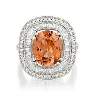 Hessonite and Diamond Ring
