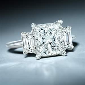3.42-Carat Princess-Cut Diamond Ring