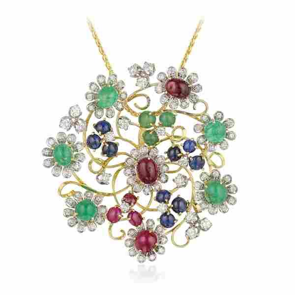 Multi-Colored Gemstone and Diamond Flower Pendant