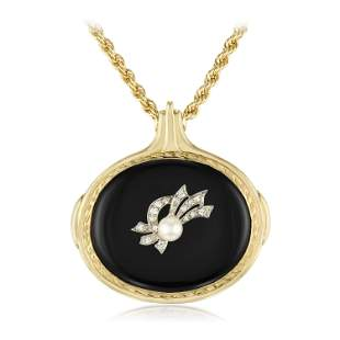Onyx Diamond and Cultured Pearl Pendant Necklace