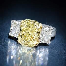 5.59-Carat Fancy Yellow Diamond Ring