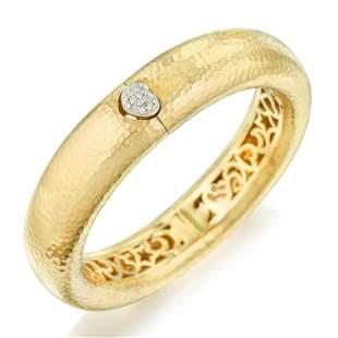 Diamond Hammered Gold Bangle Bracelet Italian