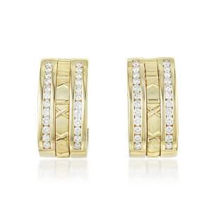 Tiffany Co Atlas Diamond Hoop Earrings