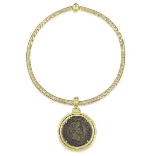 Coin and Diamond Pendant Necklace