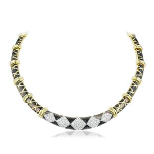 Diamond and Black Mother of Pearl Necklace Italian