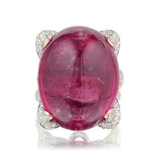 4629Carat Rubellite and Diamond Ring