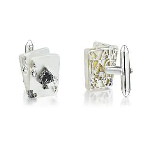Diamond and Mother of Pearl Ace of Spade Card Cufflinks