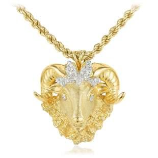 Diamond Ram PendantBrooch Necklace