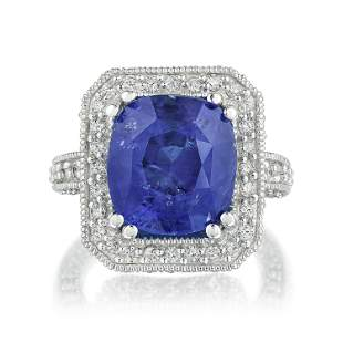 Ceylon Unheated Sapphire and Diamond Ring