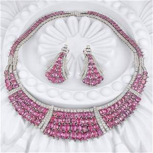 Fine Pink Sapphire and Diamond Necklace and Earrings