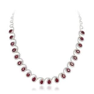 Ruby and Diamond Swirl Necklace