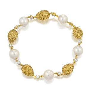Yellow Sapphire Diamond and Cultured Pearl Bracelet