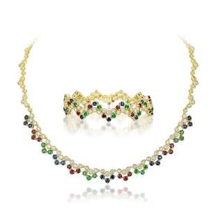 Emerald Sapphire Ruby and Diamond Necklace and Bracelet