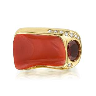 Coral Garnet and Diamond Ring Italian