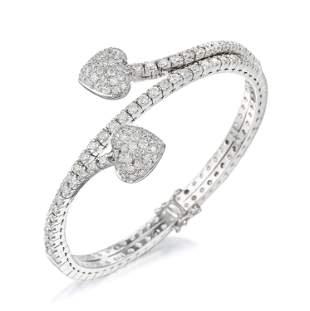 Diamond Double Heart Flex Bracelet