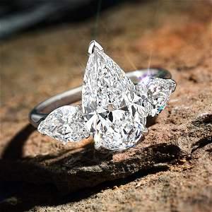 3.04-Carat Pear-Shaped Diamond Ring, D/VS2 Type IIa