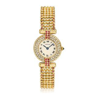 Cartier Rivoli Ladies in 18K Gold with Diamonds and