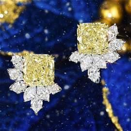Fancy Yellow Diamond Earrings, 14.62 CTW