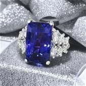 Very Fine Ceylon Unheated Sapphire and Diamond Ring