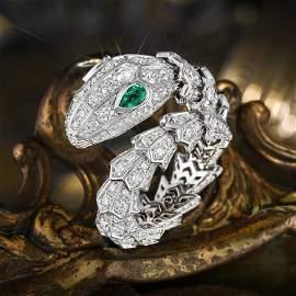 Bulgari Serpenti Diamond and Emerald Ring