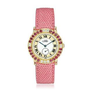 Cartier Must de Cartier Ronde in Silver with Rubies