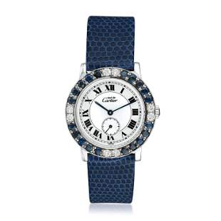 Cartier Must de Cartier Ronde in Silver with Sapphires