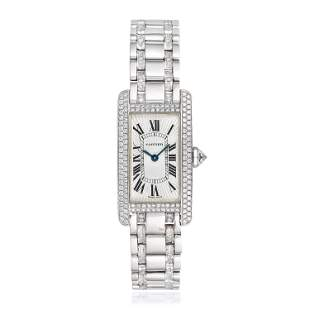 Cartier Tank Americaine in 18K Gold with Diamonds