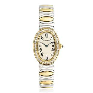 Cartier Baignoire in Steel and 18K Gold with Diamonds