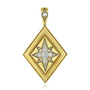 Antique Diamond Enamel Pendant/Hair Locket/Brooch
