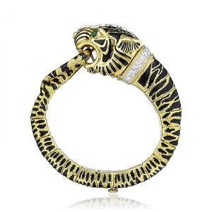 David Webb Diamond and Enamel Tiger Bracelet