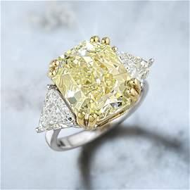 10.01-Carat Fancy Light Yellow Diamond Ring