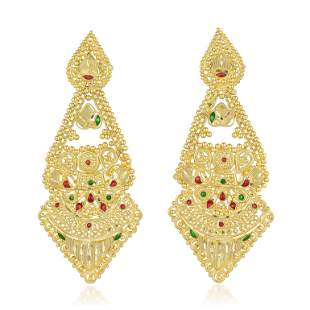 High Karat Gold Indian Dangle Earrings