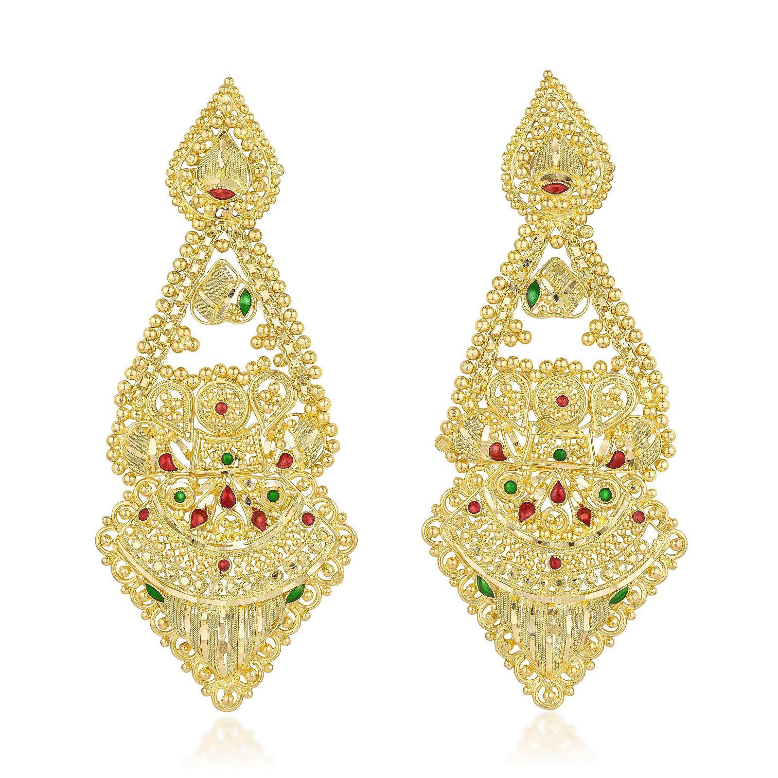 High Karat Gold Indian Dangle Earrings