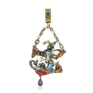 Victorian St. George Slaying the Dragon Gemstone and